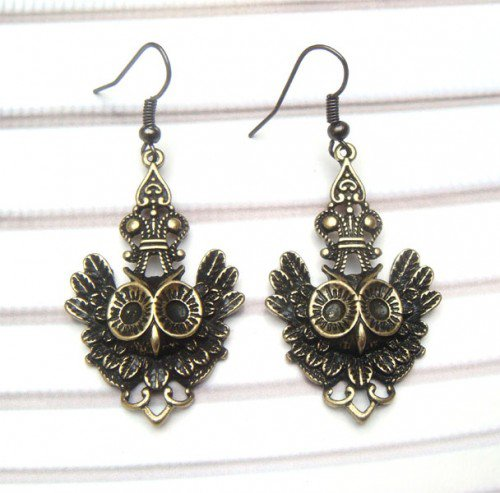 Antique Brass Owl Hook Earrings