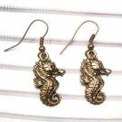 Antique Brass Seahorse Hook Earrings