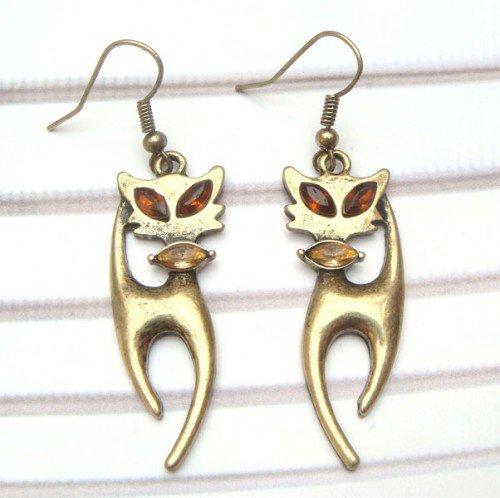 Antique Brass Swarovski Crystal Cat Hook Earrings