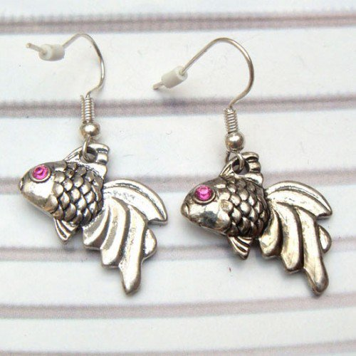 Silver Plated Antique Brass Fish Hook Earrings