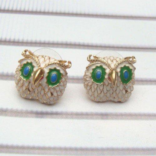Antique Brass Owl Ear Stud