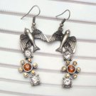Silver Plated Antique Brass Swallow Hook Earrings