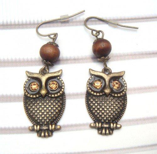 Antique Brass Swarovski Crystal Owl Hook Earrings