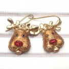 Antique Brass Reindeer Hook Earrings