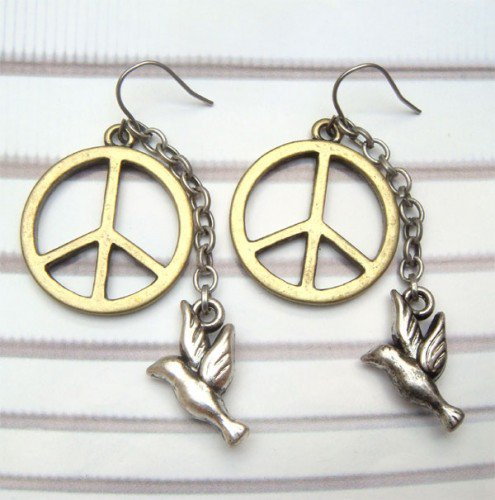 Antique Brass Peace Dove Hook Earrings