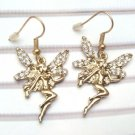 Antique Brass Swarovski Crystal Fairy Hook Earrings