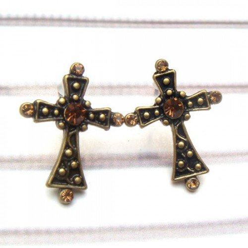 Antique Brass Swarovski Crystal Cross Ear Stud