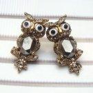 Antique Brass Swarovski Crystal Owl Stud