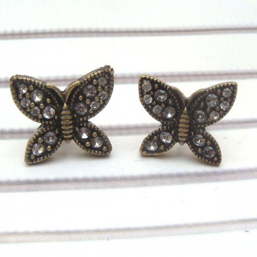 Antique Brass Swarovski Crystal Butterfly Ear Stud