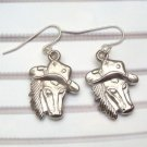 Silver Plated Antique Brass Horse Hook Earrings