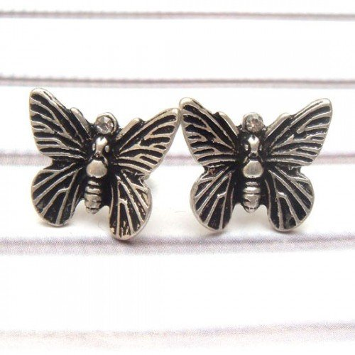 ver Plated Antique Brass Butterfly Ear Stud