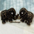 Elegant Brass Crystal Elephant design Ear Stud