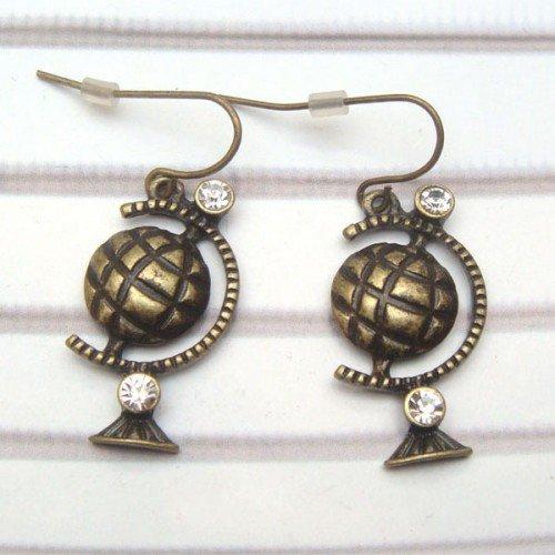 Swarovski Crystal Brass Globe Hook Earrings