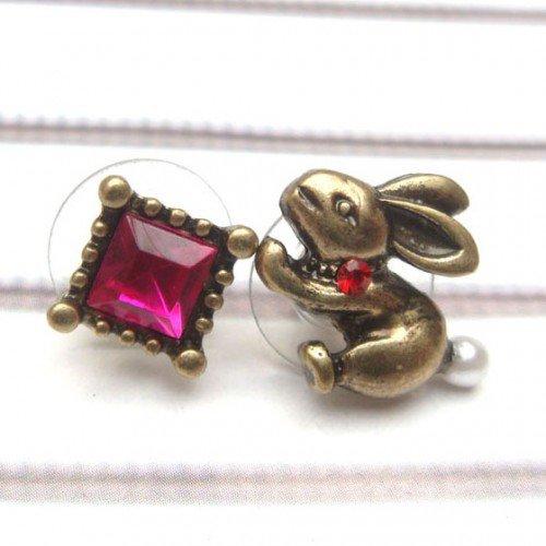 Swarovski Crystal Brass Rabbit Ear Stud