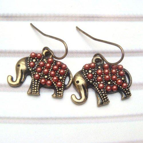 Brass Elephant Hook Earrings