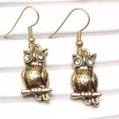 Pretty Swarovski Crystal Brass Owl Hook Earrings
