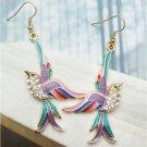 Swarovski Crystals Retro Copper Bird Hook Earrings Vintage Style