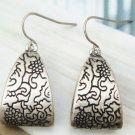 Silver Plated Retro Brass art design Hook Earrings