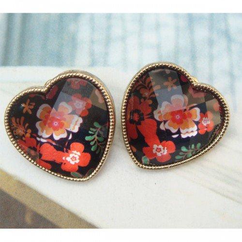Elegant Retro Brass Heart Flower design Ear Stud