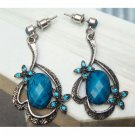 Silver Plated Retro Brass Crystal art design Ear Stud