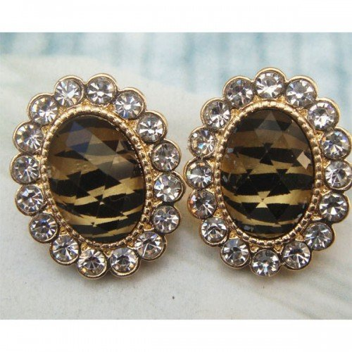 Elegant Retro Brass Crystal Oval design Ear Stud