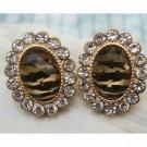 Elegant Retro Brass Crystal Oval design Ear Stud
