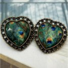 Elegant Retro Brass Peacock Leather design Ear Stud