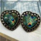 Elegant Retro Brass Peacock Leather design Ear Stud