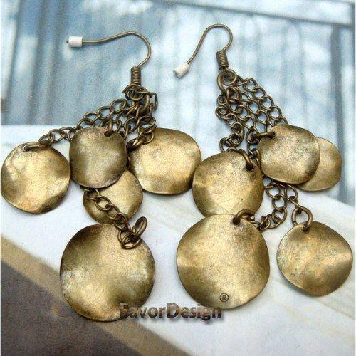Elegant Retro Brass design Hook Earrings