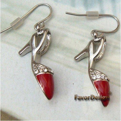 Elegant Silver Plated Crystal High Heels design Hook Earrings