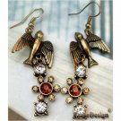 Elegant Retro Brass Crystal Swallow design Hook Earrings
