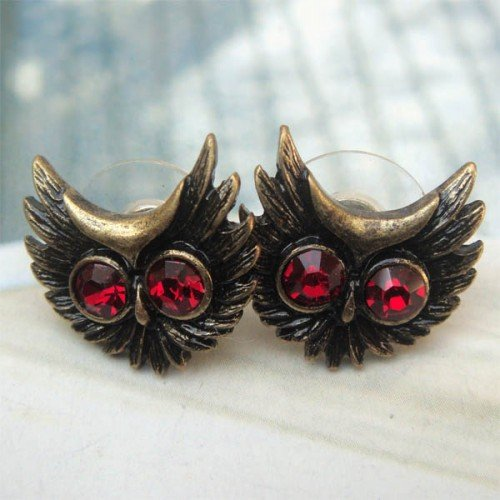 Elegant Brass Crystal Owl design Ear Stud