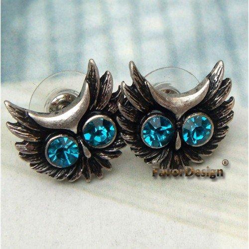 Elegant Silver Plated Crystal Owl design Ear Stud