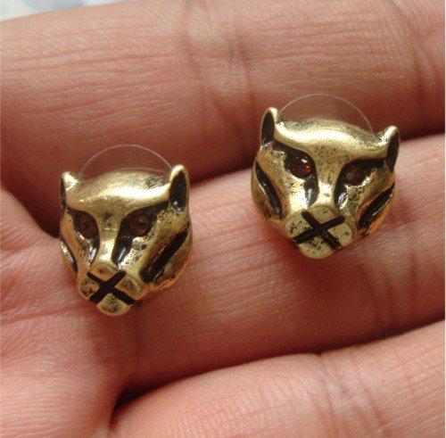 Elegant Brass Crystal Cougar design Ear Stud Earrings