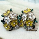 Pretty Silver Plated Swarovski Crystals Flower Ear Stud Vintage Style