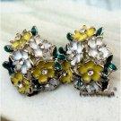 Pretty Silver Plated Swarovski Crystals Flower Ear Stud Vintage Style