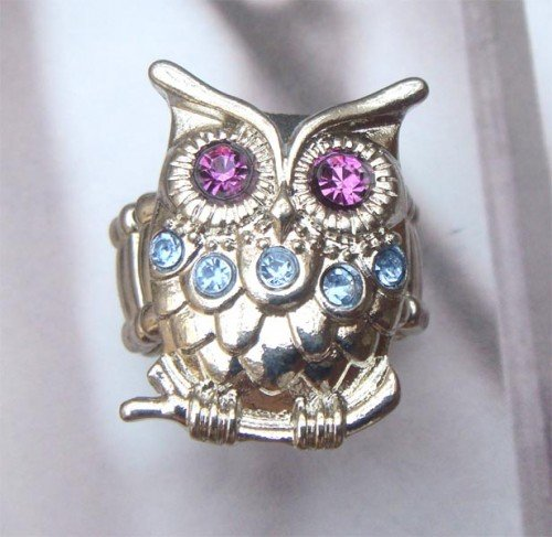 Stretchable Size Silver Plated Brass Owl Ring