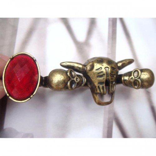 Adjustable Size Antique Brass Skull 4-finger Ring