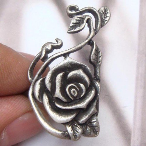 Size 6.8 Silver Plated Brass Flower Ring