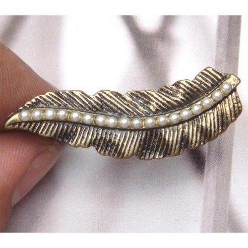 Adjustable Size Antique Brass Leaf 2-finger Ring