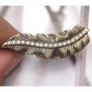 Adjustable Size Antique Brass Leaf 2-finger Ring