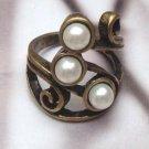 Size 6.8 Antique Brass Leaf Ring