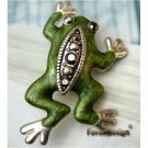 Lovely Silver Plated Swarovski Crystals Frog PIN BROOCH Vintage Style