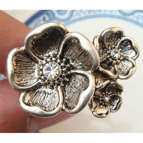 Size 8.2 Silver Plated Brass Flower Ring