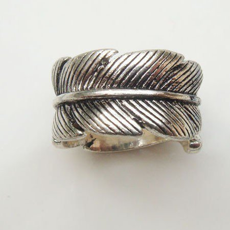 Size 7.5 Silver Plated Brass Leaf Ring