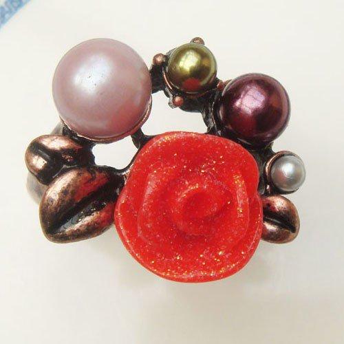 Size 9.0 Antique Brass Flower Ring