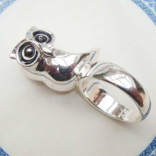 Size 6.6 Silver Plated Brass Owl Ring