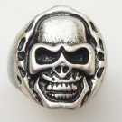 Size 11.2 Silver Plated Antique Brass Skull Ring