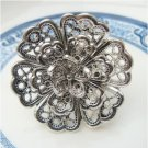 Size 6.3 Silver Plated Antique Brass Flower Ring