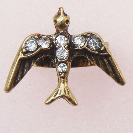 Adjustable Size Antique Brass Swallow Ring